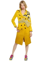 Burberry Gradient Suede Trench Coat W Bee Detail Yellow