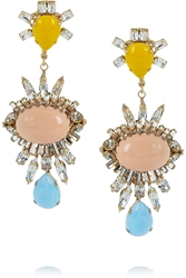 Bijoux Heart Gold Plated Swarovski Crystal Glass And Resin Earrings