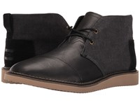 Toms Mateo Chukka Boot Black Herringbone Leather Men's Lace Up Boots Gray