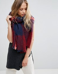 Yumi Navy And Bright Pink Check Scarf Multi