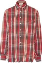 R 13 Frayed Plaid Cotton Top Red