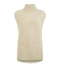 Set Sleeveless Lace Up Jumper Female Cream