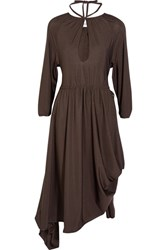 Vetements Asymmetric Stretch Jersey Midi Dress Dark Brown