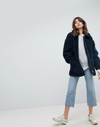 Weekday Borg Teddy Coat Navy