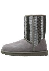 Ugg Short Woven Winter Boots Charcoal Grey