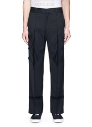 The World Is Your Oyster Argyle Patchwork Elastic Back Twill Pants Black