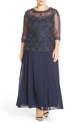 Pisarro Nights Plus Size Women's Beaded Mock Two Piece Gown Navy