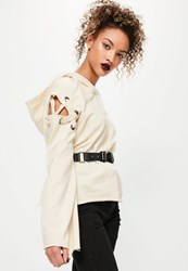 Missguided Cream Eyelet Detail Lace Up Shoulder Hoodie