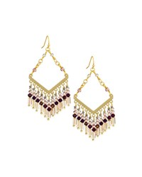 Nakamol Diamond Shaped Drop Earrings W Beaded Fringe Multi