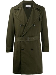 Closed Double Breasted Trench Coat Green