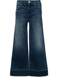 Mother Cropped Flared Trousers Blue