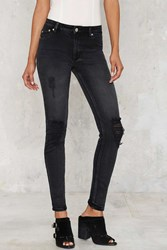 Nasty Gal Res Denim Kitty Cropped Skinny Jeans Black