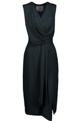 Jason Wu Draped Silk Blend Cloque Midi Dress Midnight Blue
