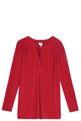Splendid Drawstring Blouse Red