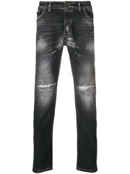 Frankie Morello Distressed Slim Fit Jeans Black