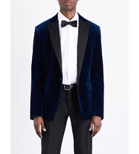 Dsquared2 Regular Fit Satin Lapel Velvet Jacket Navy Blue
