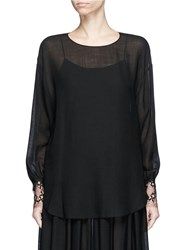 Ms Min Floral Lace Cuff Long Sleeve Blouse Black