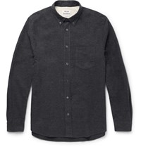 Acne Studios Isherwood Button Down Collar Cotton Flannel Shirt Gray