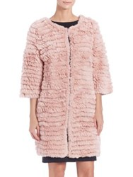 Adrienne Landau Knit Rabbit Fur Coat Dusty Rose