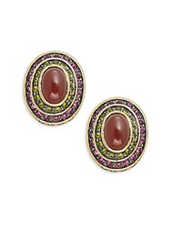 Heidi Daus Button Cabachon Crystal And Rhinestone Earrings Gold Red