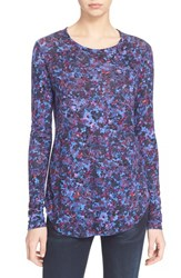 Women's Rebecca Taylor Long Sleeve Floral Print Tee Blue Black