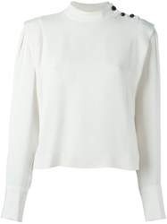 Isabel Marant 'Belissa' Buttoned Shoulder Top White