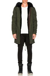 Mr And Mrs Italy Canvas Parka With Shaved Beaver Fur In Green
