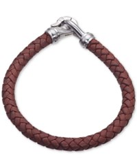 Esquire Men's Jewelry Brown Leather Bracelet In Stainless Steel First At Macy's Silver