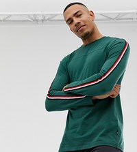 Burton Menswear Big And Tall Long Sleeve Top With Arm Stripe In Green