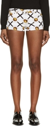 Versus White And Gold Lion Coin Print Shorts