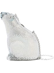 Judith Leiber Couture Blanc Polar Bear Bag Crystal Metallic