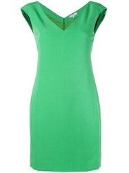Versace Collection Fitted V Neck Dress Women Polyester Spandex Elastane Viscose 40 Green