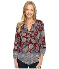 Lucky Brand Burgundy Floral Top Red Multi Women's Clothing