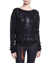 Ralph Lauren Sequined Cable Knit Silk Nylon Sweater Navy