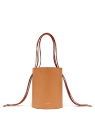 Mansur Gavriel Fringe Pink Lined Leather Bucket Bag Tan
