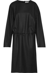 Jil Sander Gathered Brushed Wool Dress Black