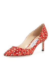Jimmy Choo Romy Floral Print 60Mm Pump Red Pattern Red Patterned