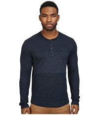 Original Penguin Reversible Pannel Henley Dark Sapphire Men's Long Sleeve Pullover Blue