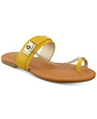 G By Guess Limitt Chained Flat Sandals Women's Shoes Yellow