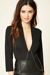 Forever 21 Bar Pendant Body Chain Gold Silver