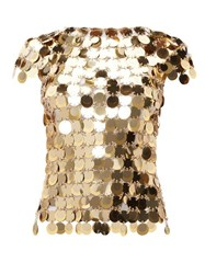 Paco Rabanne Chainmail Sequin Top Gold