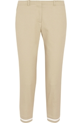 Victoria Beckham Cropped Cotton Blend Twill Slim Fit Pants
