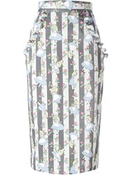 Olympia Le Tan Alice In Wonderland Print Skirt Grey