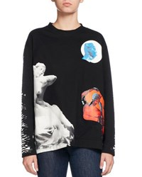 Proenza Schouler Mixed Graphic Print Jersey Top Black White Black White