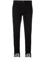 3X1 Frayed Cropped Jeans Black