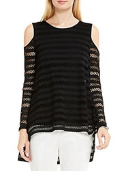 Vince Camuto Long Sleeve Stripe Cold Shoulder Top Rich Black
