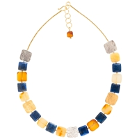 Be Jewelled Amber And Lapis Gold Plated Collar Necklace Multi