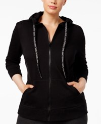 Material Girl Active Plus Size Run Like A Zip Hoodie Only At Macy's Noir