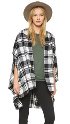 Shades Of Grey Plaid Cocoon Cape Black White Plaid