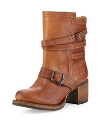 Frye Vera Strappy Leather Boot Tan